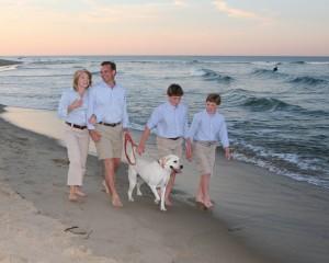 Family walking on Nauset Beach in East Orleans Massachusetts